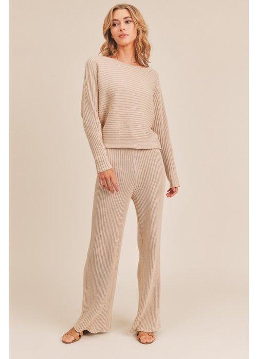 Oatmeal Knit Ribbed Pants