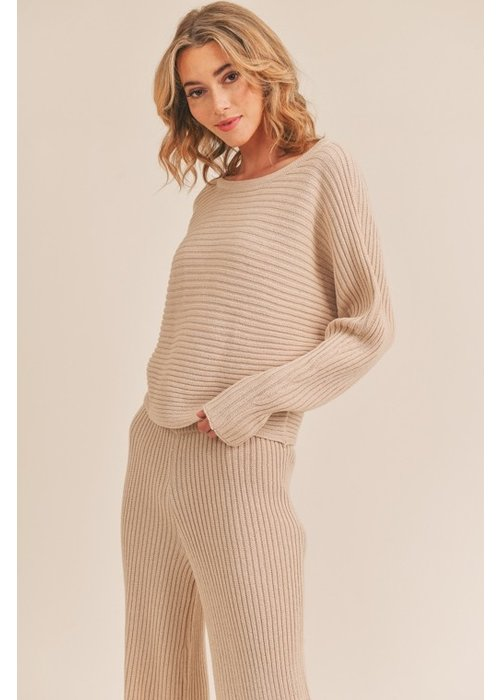 Oatmeal Knit Ribbed Top