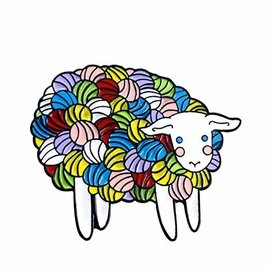 Three by the Sea Designs Enamel Pin - Yarn Sheep