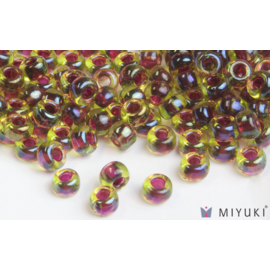 Miyuki Miyuki 6/0 Glass Beads - 336 Cranberry-lined Peridot AB