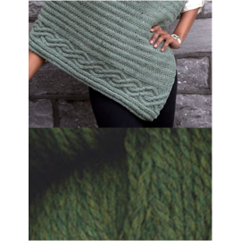 Cabled Edge Poncho - Green Heather Kit