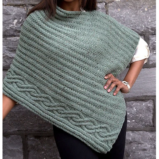 Cabled Edge Poncho - Taupe Heather Kit