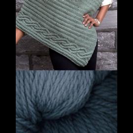 Cabled Edge Poncho - Denim Blue Kit