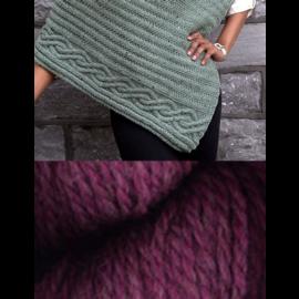 Cabled Edge Poncho - Raspberry Heather Kit
