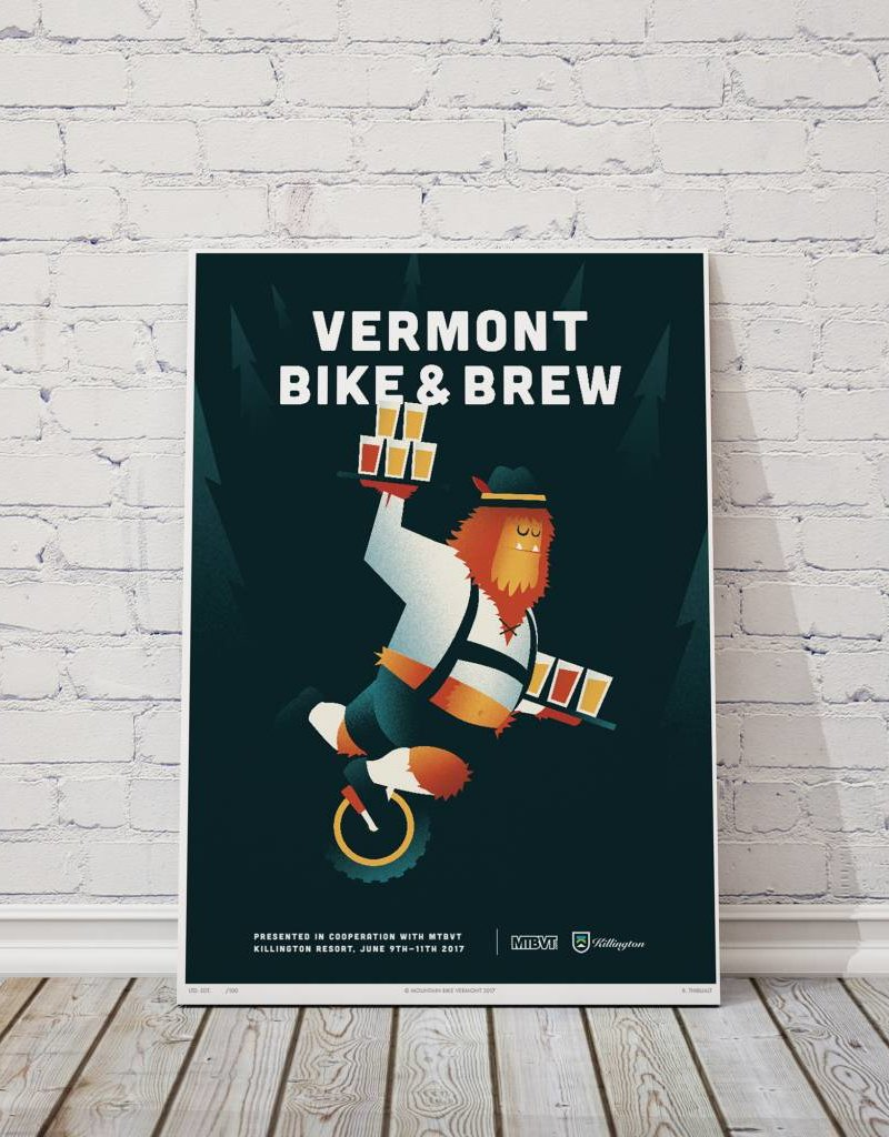 MTBVT Limited Edition Digital Print 13x9 VT Bike & Brew
