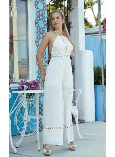 Emerging Designers Ode White Halter Jumpsuit
