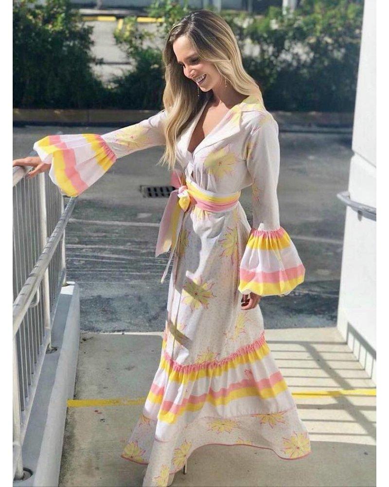 Jose Cuello DRESS - Cana Yellow Flowers - Size 8