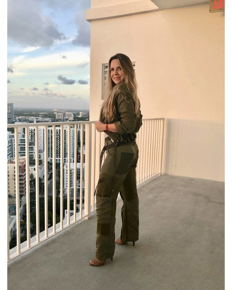 Emerging Designers Ali Green Cargo Pants with Straps