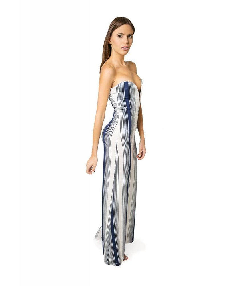 Emerging Designers JUMPSUIT - Karen Strapless white And Navy Striped