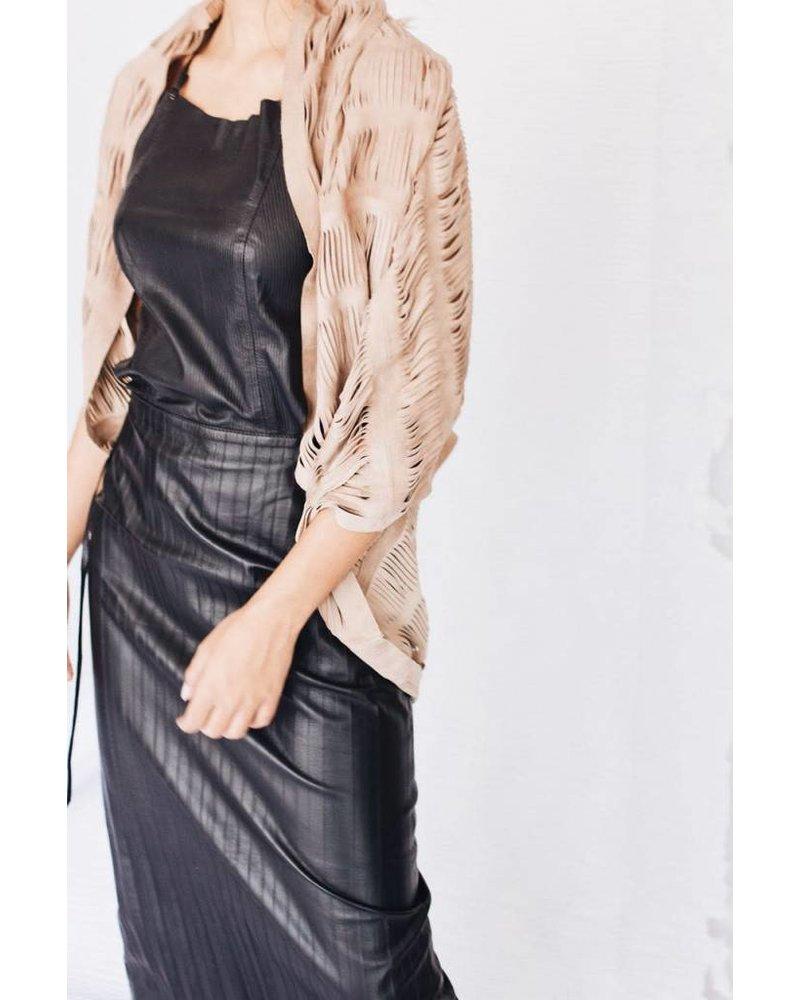 Andrea Landa VEST - Bonnie Leather Slit Black - One Size