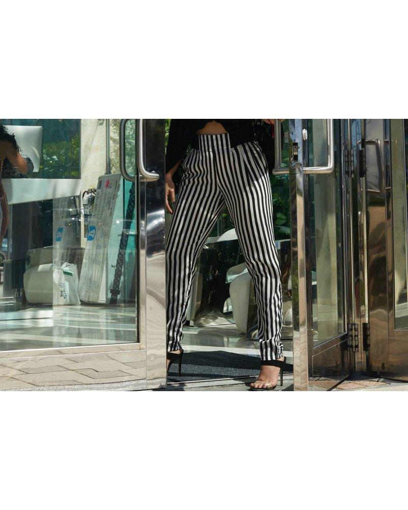 Emerging Designers PANT - Uma Black and White elastic Waistband