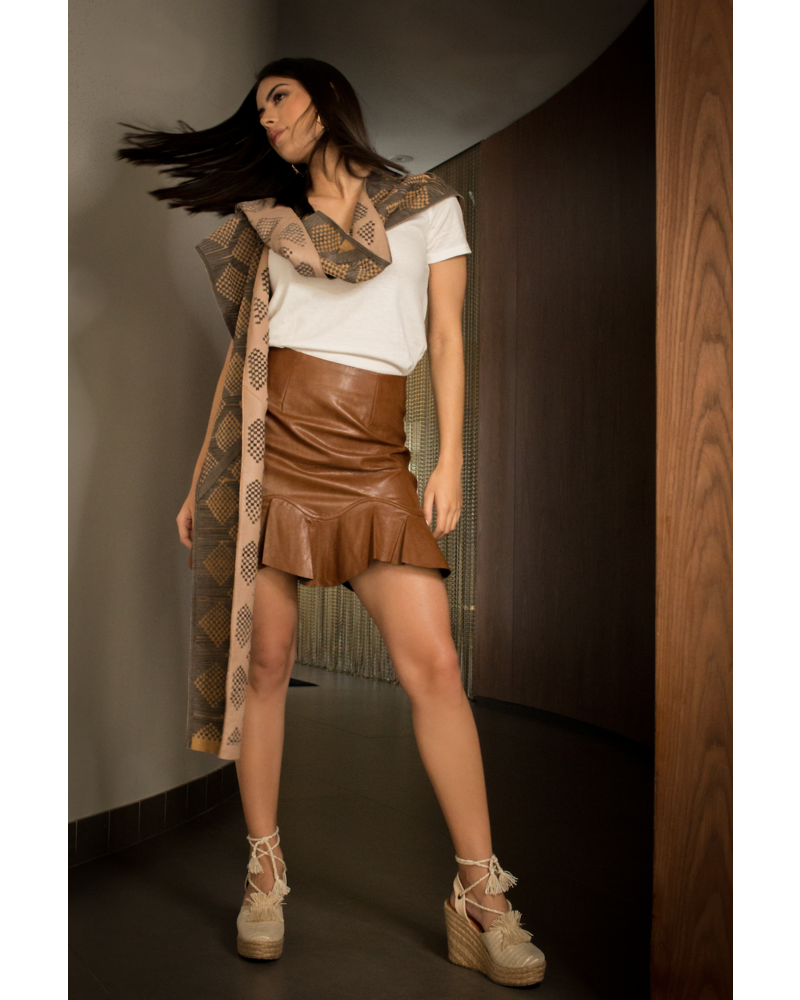 Andrea Landa VEST - Sisi Long Leather Brown with Hood - One Size