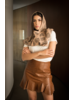 Andrea Landa Sisi Long Leather Vest With Hood