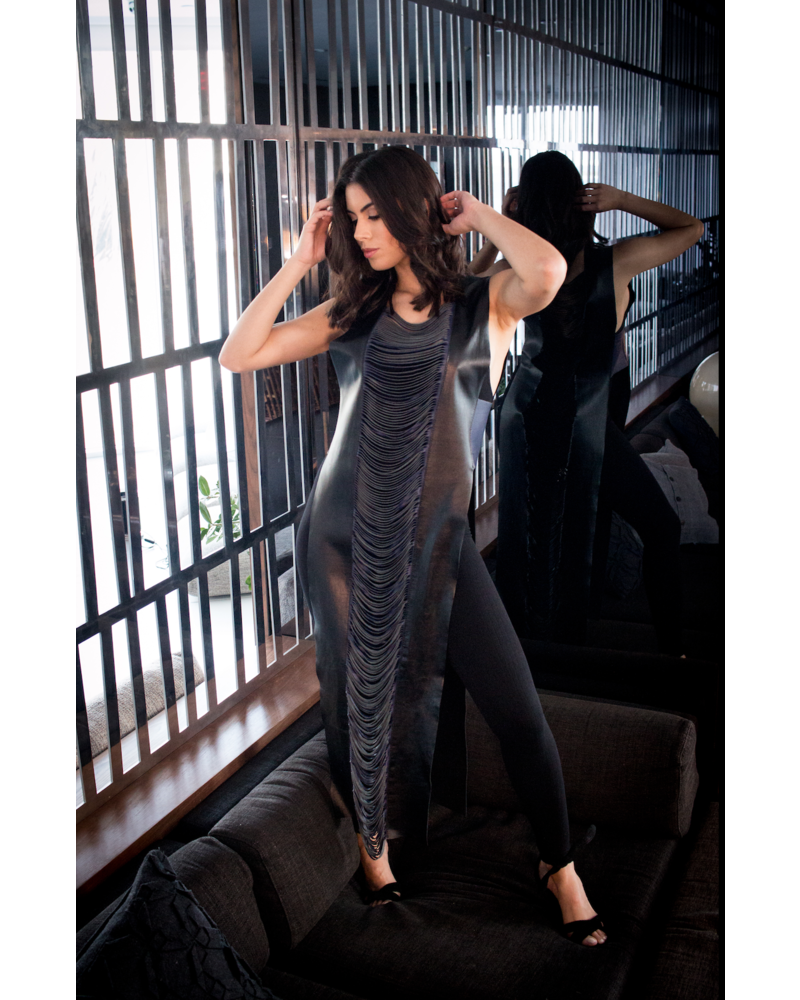 Andrea Landa VEST - Xander Black & Purple Leather - One Size