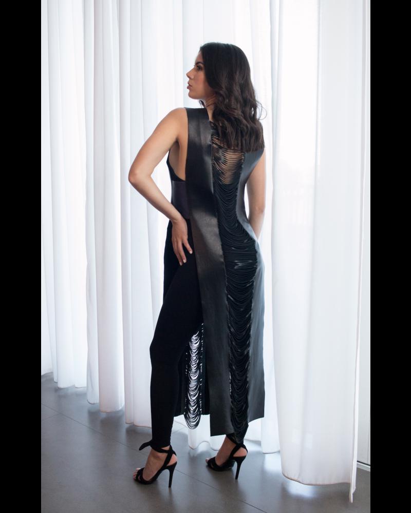 Andrea Landa Xander Black & Purple Leather Vest