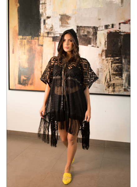 La Tucha VEST - Black Handmade Poncho - One Size