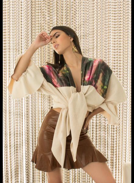 Art Teca SWEATER - Cardigan Rose Graphite -One Size