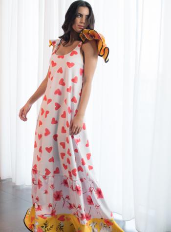 Jose Cuello Akili Dress With Flowers & Hearts - Size 8
