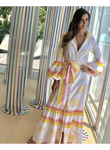 Jose Cuello Cana Yellow Flowers Dress - Size 8