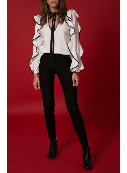 9a07c55aa82c56 Emerging Designers Española White Ruffle Blouse - Size S