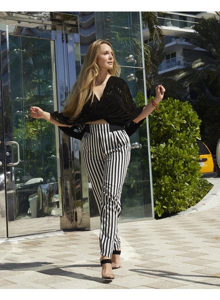 Andrea Landa Bonnie Leather Slit Top (BLACK)