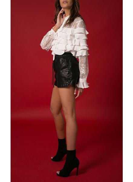Emerging Designers Nicole White Silk Long Sleeve Ruffle & Lace Blouse