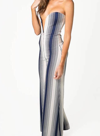Emerging Designers Karen Strapless White And Navy Striped Jumpsuit