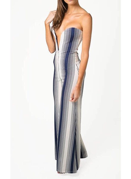 Emerging Designers JUMPSUIT - Karen Strapless white And Navy Striped