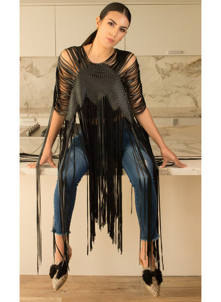 Andrea Landa VEST - Vivi Black Leather Fringe - One Size