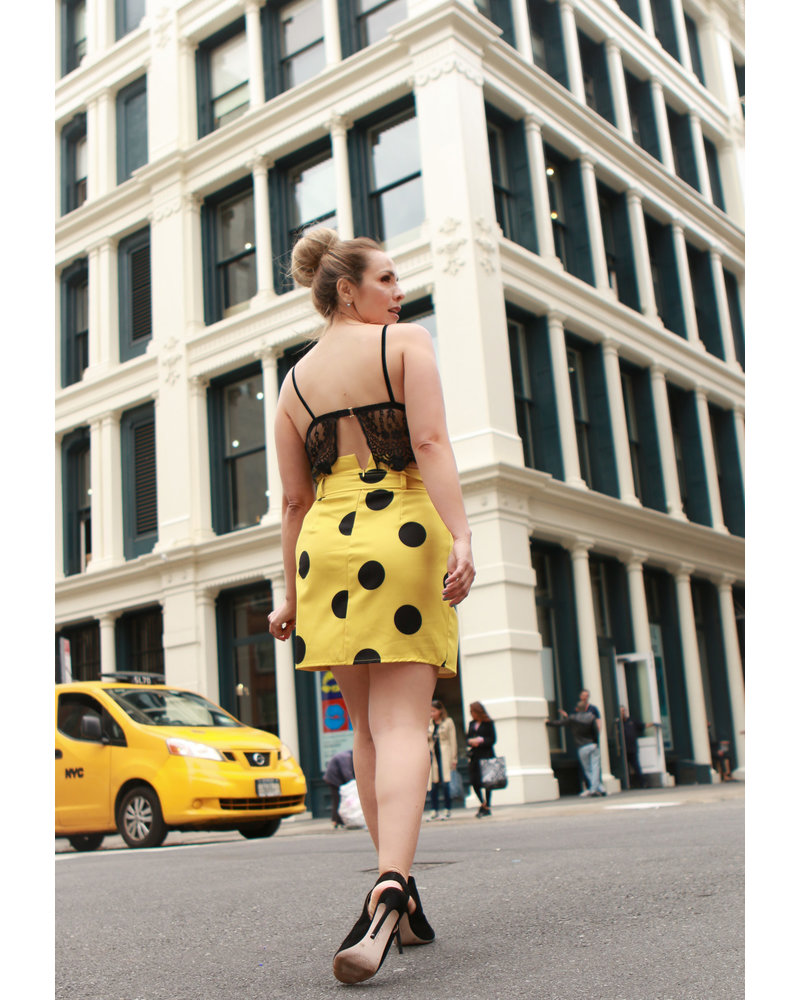 SKIRT - Belted Yellow and Black Polka Dot Drape