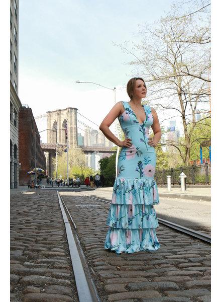 Zuly Niño Tiffany Long Dress with Ruffles