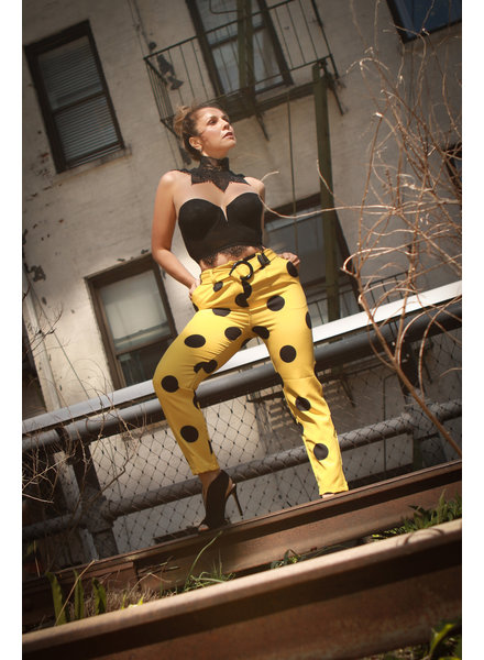 PANT - Belted Yellow and Black Polka Dot