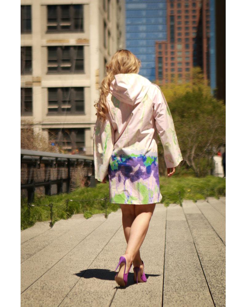 Aguazero Dora Raincoat With Pink Flowers - Size Small