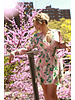 Pink Flower Print Ruched Dress