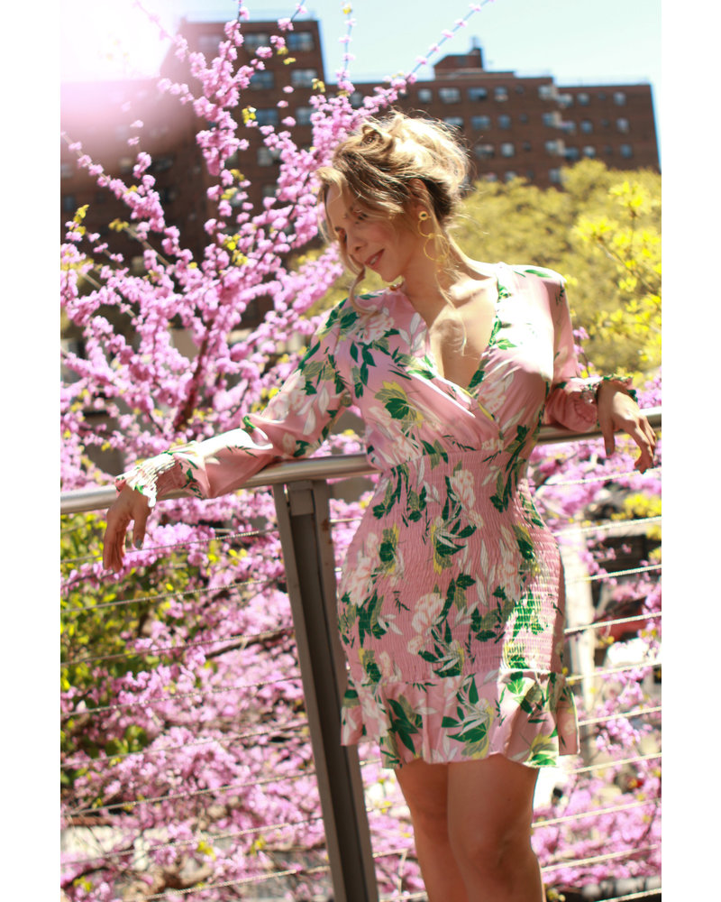 DRESS - Pink Flower Print Ruched - Size