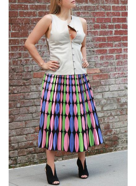 Andrea Landa VEST - Mindy Beige Leather Button Down - Size S