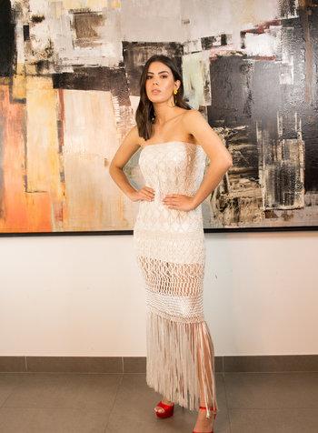 Palma Canaria Iman White Hand-Knit Skirt/Dress