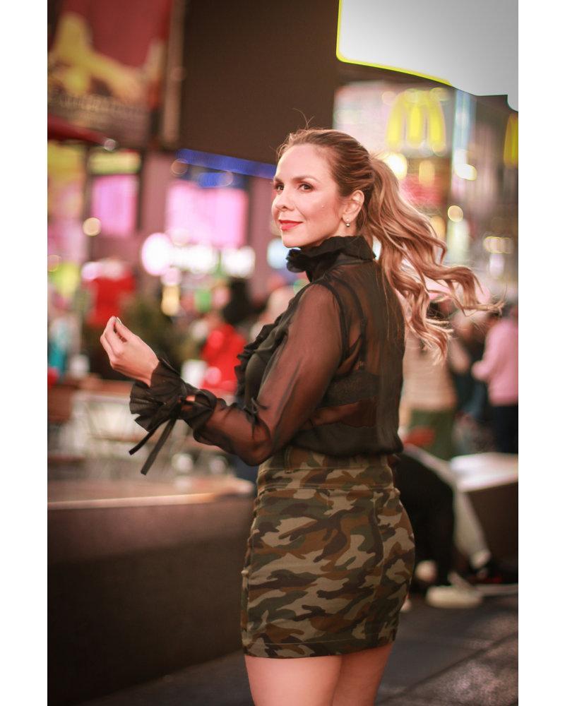 La Tucha BLOUSE - Paola Black Button Down with Neck Ruffle - Size M