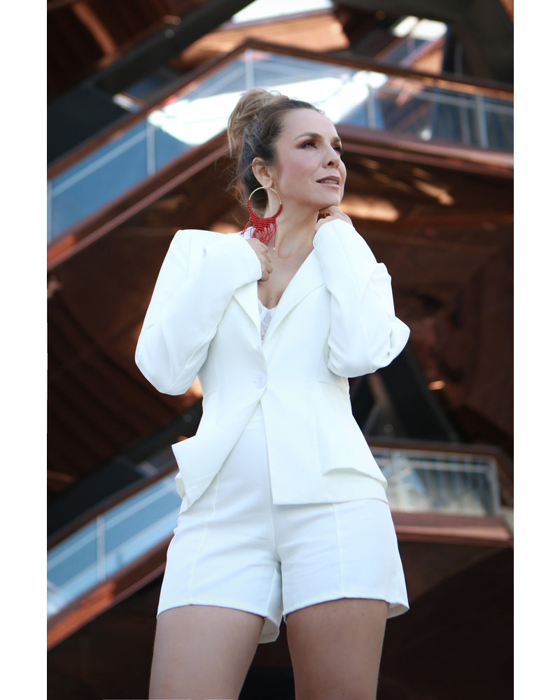 Single Button Blazer with Seamed Solid Short