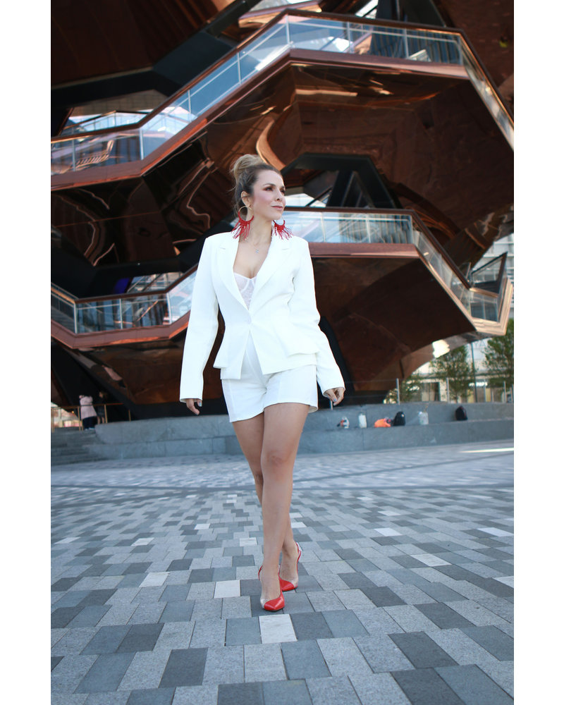 SET - Single Button Blazer with Seamed Solid Short