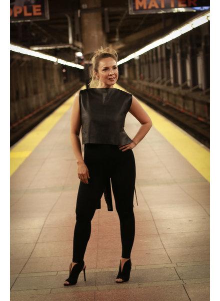 Andrea Landa CROP TOP - Troqueles Black & Burgundy Leather - Size 6