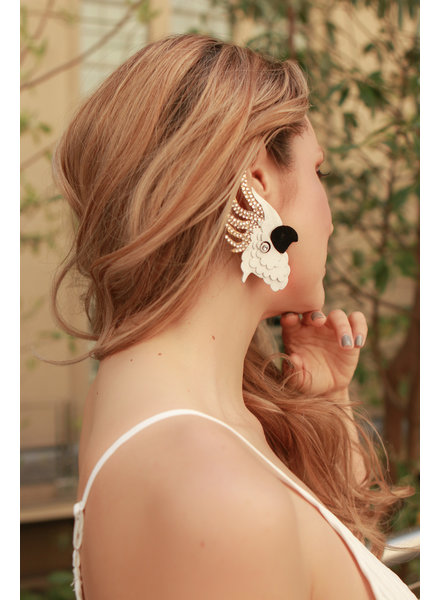 Nina Peñuela Cockatoo Earrings, Leather and Crystals