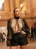 La Tucha BODYSUIT - Romina Sheer Silk Paisley - Size S