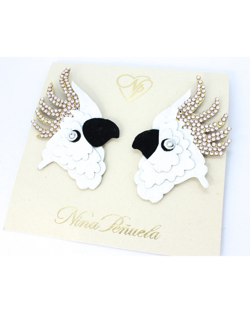 Nina Peñuela EARRINGS - Cockatoo, Leather and Crystals
