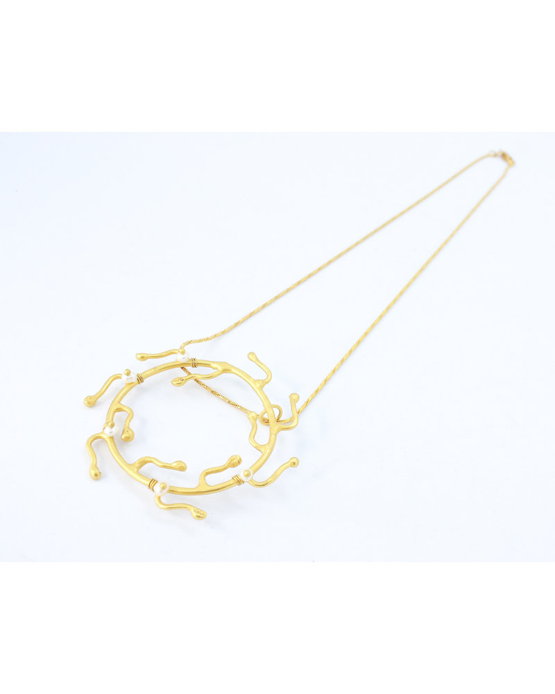 Crisobela Corona Gold Plated Necklace