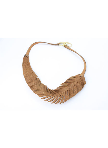 Monica Feather Leather Necklace