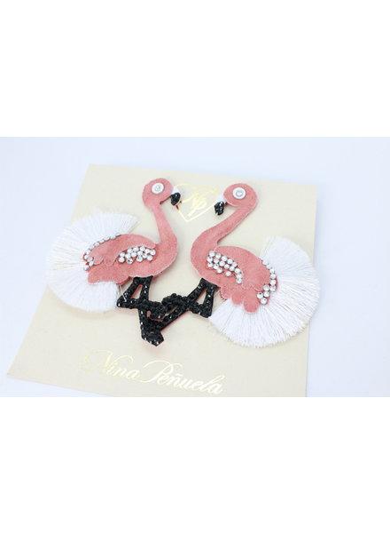 Nina Peñuela Flamingo Earrings, Leather and Crystals