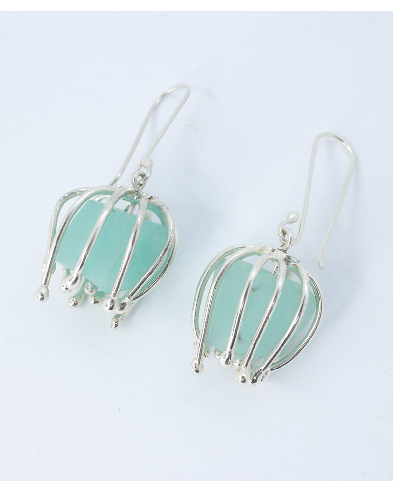Juliana Estrada Silver Earrings with Turquoise Stones