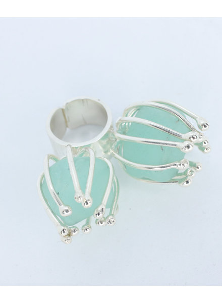 Juliana Estrada Silver Ring with Two Turquoise Stones