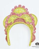 Margarita Diaz del Castillo Cayena Crown Pink & Yellow - 100% Iraca